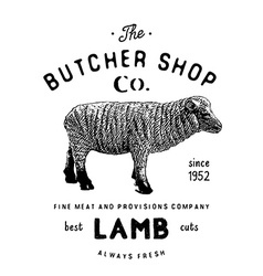 Butcher shop vintage emblem lamb meat products vector