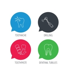 Toothpaste dental tubules and toothache icons vector