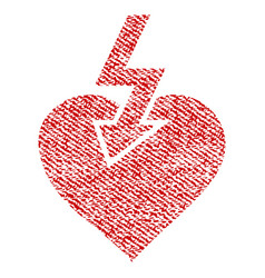 Heart shock strike fabric textured icon vector