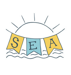 Summer time of sun icon and sea vector