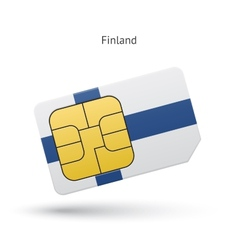 Finland mobile phone sim card with flag vector