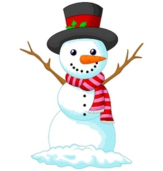 Christmas snowman cartoon wearing a hat and red sc vector