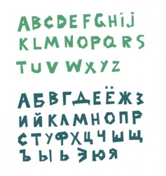 English and russian alphabets vector