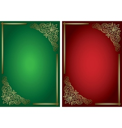Green and red backgrounds with golden decor vector