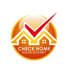 Logo blue house checks twins vector