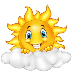 Smiling sun cartoon mascot character vector