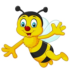 Cartoon bee waving hand isolated vector