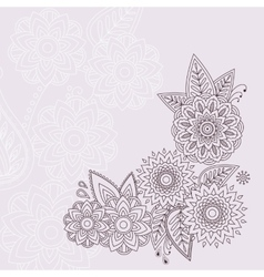 Beautiful floral elements in indian mehndi vector