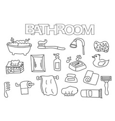 bathroom elements hand drawn set vector image vector image
