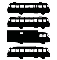 Black silhouettes of old buses vector
