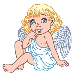 cartoon little angel vector image