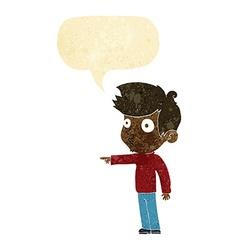 Cartoon pointing boy with speech bubble vector