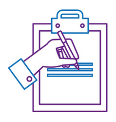 clipboard paper with hand signing vector image vector image