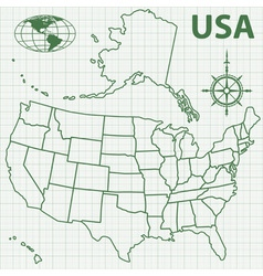Contour map of USA vector image