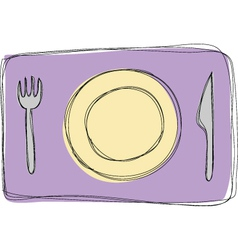Dinner plate knife and fork vector image vector image