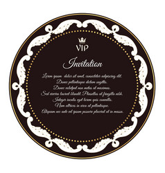Elegant brown emblem for vip invitations with a vector