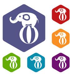 elephant balancing on a ball icons set vector image