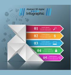 five paper infographic origami dove bird icon vector image