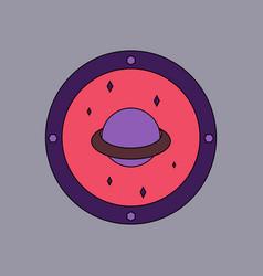 Flat icon design collection saturn orbit vector