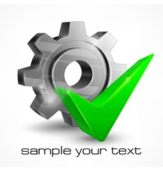 Gear with check mark vector image vector image