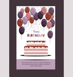 Happy birthday card birthday party elements vector