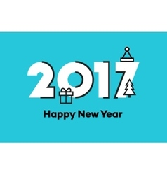 Happy New Year 2017 Text Design Flat vector image vector image