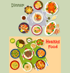 Healthy festive dinner icon set for menu design vector