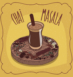 indian tea masala chai on wooden plate vector image vector image
