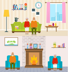 old people home interior background aged vector image vector image