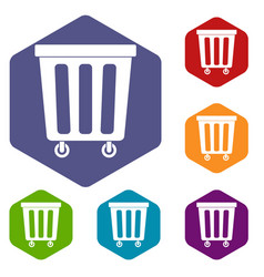 Outdoor plastic trash can icons set hexagon vector
