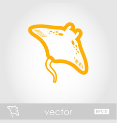 Ramp fish outline icon summer vacation vector