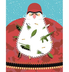 Santa claus military santa in camouflage uniforms vector