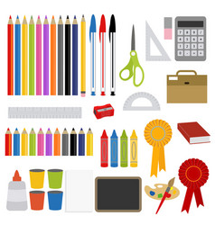 School stationery and craft supplies vector