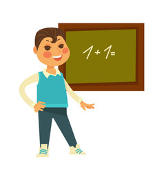 schoolboy stands near chalboard with drawn vector image vector image