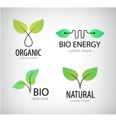 set of green leaves eco bio logos natural vector image