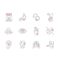 Set of smoking harmful flat line icons vector image