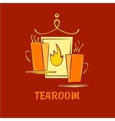 Template logo for tea room suburban cafe vector