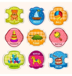 Toys labels sketch vector