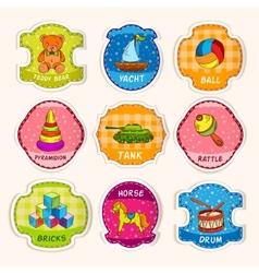 Toys labels sketch vector image
