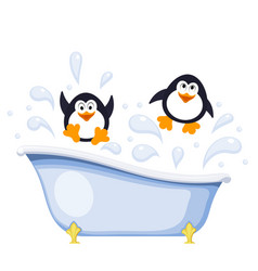Two small penguins bathe in the tub abstract vector