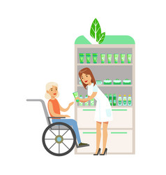 Woman in wheelchair in pharmacy choosing and vector
