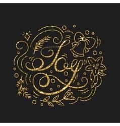 Joy golden lettering design typographic vector