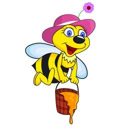 Bee cartoon with honey bucket vector image