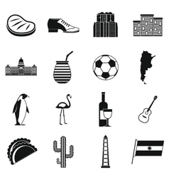 Argentina travel items icons set simple style vector