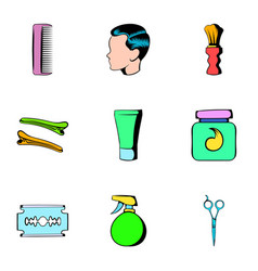 hairdresser icons set cartoon style vector image