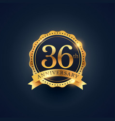 36th anniversary celebration badge label in vector image