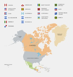 North America map and flags vector image