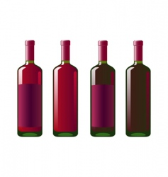 Four bottles of red wine vector