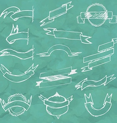 Hand draw ribbon set vector