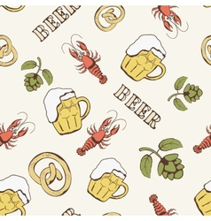 Glass of beer hop and crayfish seamless pattern vector